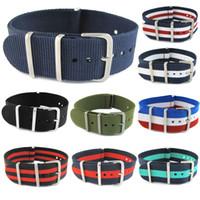 ingrosso cinture nere di tessuto per gli uomini-James Bond 007 Army Sports Nato Fabric Nylon Watch Band 18 20 22 mm Nero Blue Buckle Belt Canvas For Men Cinturino per orologio
