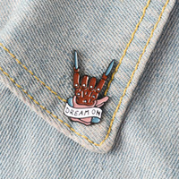 ingrosso gioielli della band musicale-DREAM ON Spille con spilla Distintivo Spilla Rock Band Spilla con risvolto Camicia in denim Colletto Punk Fresco Musica Moda Inspirational Regalo di gioielli