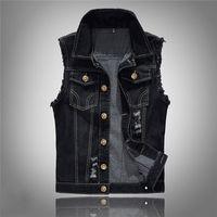 Wholesale men s slim black vest resale online - Mens Fashion Lapel Neck Jacket Vest Single Breasted Hole Solid Color Male Fashion Slim Vest S XL