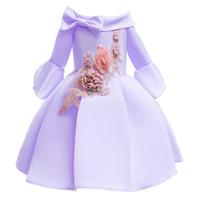 medio tutu al por mayor-Nuevo diseñador Vestido de niña media manga sin hombros Vestido de tutú Niños Princesa vestido primavera otoño bordado falda larga