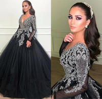 Wholesale coral sparkle prom dress for sale - Group buy 2019 Black Arabic V neck Tulle Long Evening dresses Sparkling Sequins Beaded Long Sleeves Sweep Train Formal Party Prom Dresses BC1369