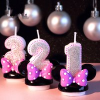bebek doğum günü mumları toptan satış-Doğum günü Şekil Numarası Mum Pembe Ilmek Mick Minie Mum Kız Bebek Çocuk Çocuk Doğum Günü Dekor Yıldönümü Mum El Yapımı Koku