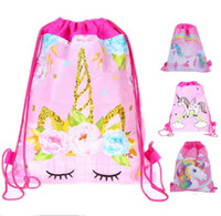 Wholesale kids birthday party backpack for sale - Group buy Cartoon Unicorn Printing Drawstring Bags Party Favor Kids Backpack Shoulder Bags for Halloween Christmas Children Birthday Pouch Gift Hot