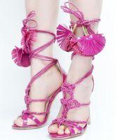 schmetterlingsseil großhandel-Hot Fashion Sweet Pink / Grün / Lila / Braun Nylonseil Lace-UP Schmetterling-Knoten Peep Toe Frauen Schuhabdeckung Ferse dünne Fersen Sandalen