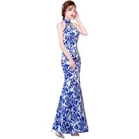 cheongsam sem encosto venda por atacado-Xangai História Estilo Chinês Vestido Longo Qipao Backless Keyhole azul e branco vestido de porcelana Sereia Cheongsam vestido para As Mulheres