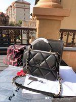 Wholesale acrylic sheeting resale online - The New Sheet Metal Handle Turbot Plaid Clamshell Chain Bag Lady One Genuine Leather Handbag Shoulder Bags A Designer Shoulder Bag