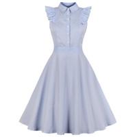 audrey hepburn baskı elbisesi toptan satış-Kenancy 1960 s audrey hepburn salıncak rockabilly vintage dress artı boyutu mavi şerit baskı ruffles retro dress parti vestidos 4xl y19051102