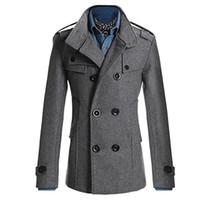 çift göğüslü trençkot ceket erkek kış toptan satış-Moda Erkekler Kruvaze Kış İnce Sıcak Ceket Şık Trençkot Dış Giyim
