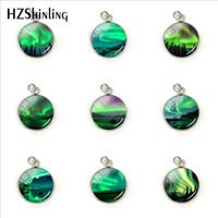 encantos leves venda por atacado-Pingente de luzes do norte verde, Northern Light jóias, charme de colar de luz, acessório de jóias de aço inoxidável de mão Aurora artesanato