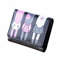 kadın cüzdanları toptan satış-Tasarımcı sikke çanta anahtar kılıfı Kadın Kedi Desen Para Kart Sahipleri El Çantası Deri Mini Cüzdan Çanta Kısa Cüzdan Moda