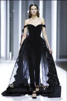 boncuklu siyah akşam elbisesi resmi toptan satış-2019 Yeni Muhteşem Kapalı Omuz Siyah Tulum Abiye Boncuklu Aplike Tül Kadife Kırmızı Halı Elbiseleri Resmi Parti Elbise