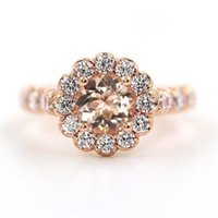 старинные розовые золотые бриллиантовые кольца оптовых-Vintage Design Природный Драгоценный Камень Morganite Diamond 18 К Розовое Золото Свадебное Кольцо для элегантных Женщин Оптом и Ре