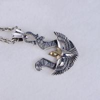 águia de bronze antigo venda por atacado-Moda S925 Sterling Thai Latão De Prata de Dois Tons Antiguidade Águia Voando U Em Forma de Pingente de Colar dos homens