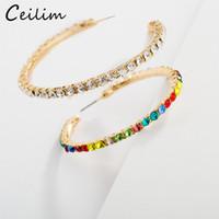 ingrosso nuovi accessori korea-Nuovo cristallo strass perline orecchini a cerchio oro cerchio grande cerchio orecchino moda dolce design Corea gioielli per le donne accessori per feste