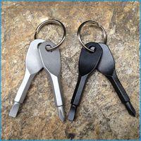 chave de fenda mini phillips venda por atacado-2 pçs / set Mini Chave De Fenda Set Chaveiro Multifuncional Ferramenta de Bolso Ao Ar Livre Chaveiro Com Slotted Phillips Cabeça