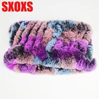 меховые повязки для женщин оптовых-2019 New Design Women'S Winter Scarf DIY Handmade Elastic Hair Scarfs Knit Genuine Rex  Fur Headband Girls Natural Fur Col