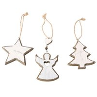Wholesale angel decor for sale - Group buy 3PCS Christmas Rustic Wood Angel Tree Star Hanging Decorative Pendants Hanging Drop Ornaments For Xmas Tree Decor