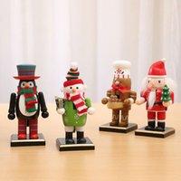 velho boneco venda por atacado-Pinguim Snowman New Decorações de Natal Madeira Nutcracker Old Man Chef Puppet criativa Fun Tabletop Montra
