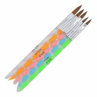 conjunto de lápices de colores de gel al por mayor-5 Unids Nail Art Brush Set Herramientas Acrílico UV Gel Builder Pintura Dibujo Pinceles Plumas Cutícula Herramienta Pusher Colorido