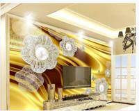 ingrosso carta da parati dorata di lusso-Foto personalizzata murale carta da parati Retro atmosferica di lusso oro gioielli in seta pittura murale camera da letto soggiorno divano 3D carta da parati