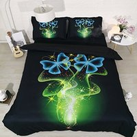 Wholesale comforters quilts bedspreads resale online - Green Galaxy Bedding Blue Butterfly Queen Duvet Coverlet Black Bedspread Full pc Pillowshams NO Comforter NO Quilt