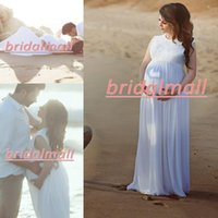 Wholesale simple beach maternity wedding dresses for sale - Group buy African O Neck White Chiffon Maternity A Line Wedding Dresses Lace Top Beach Boho Bridal Gowns Plus Size Pregnant Formal Bride Dress