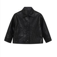 jaquetas de couro para crianças venda por atacado-Nova moda PU Leather Meninas Jacket crianças casacos crianças roupas de grife meninas jaqueta Crianças outwear manga longa crianças de designer jaquetas A8175