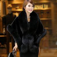 mink kadın ceketleri toptan satış-Taklit kürk kadın uzun bölüm vizon saç 2018 yeni İmitasyon tilki kürk yaka yaka Kore versiyonu