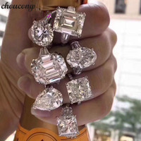 Wholesale unique fine jewelry for sale - Group buy choucong Unique Promise Ring Real sterling Silver Diamond Engagement Wedding band Rings For Women Fine Jewelry Gift