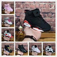 zapatos de baloncesto para niños con descuento al por mayor-NIKE AIR JORDAN RETRO shoes niños 6 zapatos de baloncesto del bebé unc gold negro rojo niño 6s niños zapatillas de deporte de los niños de los entrenadores bajos tamaño 28-35