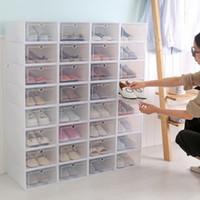 klare kunststoff-organisatoren großhandel-Durchsichtigem Kunststoff Schuhkartons stapelbare Floding DIY Schuhladen Lagercontainer Veranstalter Schuhkasten Transparenter Aufbewahrungs