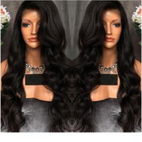 Wholesale black long wavy human hair resale online - L Cheap Wavy Full Lace Wigs Human Hair Glueless Unprocessed Virgin Hair Wavy Long Black Brazilian Hair Lacefront Wigss Density