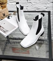 un cuero al por mayor-Fashionville * u671 40 negro blanco cuero genuino plana botas cortas mujeres de la moda autumn9900 /