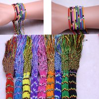 Wholesale bracelet transport for sale - Group buy Rainbow rope line national wind polyester handmade woven transport colorful line bracelet diy jewelry for colors
