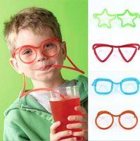 benzersiz saman toptan satış-Sıcak! Komik Yumuşak Gözlük Straw Benzersiz Esnek Içme Tüp Çocuk Parti Aksesuarları