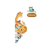 búho decoraciones para sala de pared al por mayor-[SHIJUEHEZI] Animales de dibujos animados pegatinas de pared DIY Lion Fox Owl tatuajes de pared para niños sala de guardería guardarropa puerta decoración