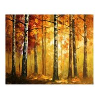 pinturas forestales pinturas al óleo al por mayor-24x48 Pinturas al óleo pintadas a mano abedules salas de estar sofás paredes villas europeas senderos bordeados de árboles Sendero forestal