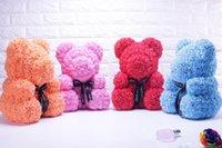 geschenkpuppe großhandel-Künstliche Rose Blumen-Bär PE Rose nette Karikatur-Super Freundin Kind-Geschenk Love Bear Puppen vorhanden Hochzeit Dekoration Valentinstag