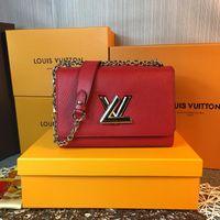 bolso de mezclilla negro al por mayor-50278 Diseñador de Lujo de buena calidad Twist Denim bolso base curvada aumenta la capacidad del bolso rojo negro cadena bolso tamaño 23 * 18 * 8 cm