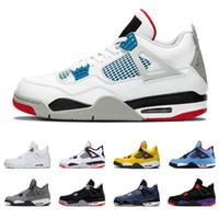 ingrosso pattini di moda pura-air jordan retro 4 che scarpe da basket da uomo 4s hanno prodotto Cool Grey PALE CITRON DENARO PURO OREO cemento bianco ALTERNATE Ali moda uomo sneakers sportive