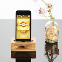Wholesale cell phone charging stations online – New Wood Phone Stand Universal Mobile Cell Phone Holder Wooden Sound Amplifier Desktop Charging Station Dock Bamboo Lazy Bracket