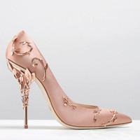 zapatos de fiesta de boda al por mayor-Ralph Russo Diseñador de boda Zapatos nupciales de seda Zapatos de tacones de eden para la fiesta de la boda de noche Zapatos de baile