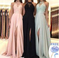Wholesale sleeveless lace long prom dress for sale - Group buy Elegant Halter Chiffon Long Bridesmaid Dresses Lace Applique Split Prom Guest Dress Maid Of Honor Dresses BM0267