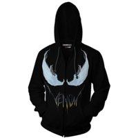 ingrosso cappotti invernali spiderman-2018 Autunno Inverno Venom Spiderman Zip Up Felpa con cappuccio Uomo Felpe con cappuccio Supereroe Cosplay Cappotti con cappuccio Cerniera