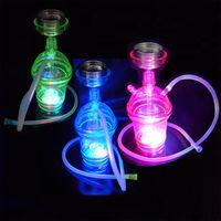 füme cam aydınlatma toptan satış-Nargile VAPOUR mavi yeşil pembe aydınlatmalı LED Komple Set 1 Hortum Nargile nargile Cam Vazo