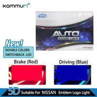 ingrosso tiida emblema-KAMMURI Car Styling Double Colors 5D Badge posteriore logo luce per Tiida X-Trall Livina Cedric Geniss led Emblem Logo Light
