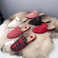 ante de las señoras zapatillas al por mayor-2019 hombres de la marca Princetown piel Muller zapatillas zapatos mocasines de cuero de lujo de las señoras de gamuza Mules Casual pisos zapatos casuales
