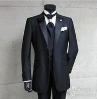 saten pantolon pantolonu toptan satış-Yeni Gerçek Fotoğraf Bir Düğme Siyah Damat Smokin Tepe Saten Yaka Best man Sağdıç Erkekler Düğün Damat (Ceket + Pantolon + Yelek) 72