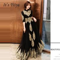Wholesale prom dressed lace resale online - Evening Dress Hight Collar Long Plus Size Elegant Sexy Hollow Women Party Dress Half Sleeve Robe De Soiree Prom E536