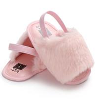 babymädchen rote sandalen großhandel-Mode Baby Mädchen Sommer Pompon Nette Sandalen Schuhe Anti-slip Weiche Pelz Flache Sandalen Rosa Weiß Schwarz Rot Schuhe